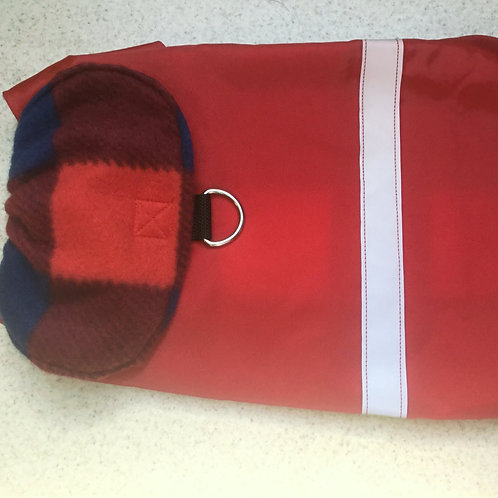 SM DOG RED W RED & BLUE BUFFALO PLAID WATERPROOF  COAT