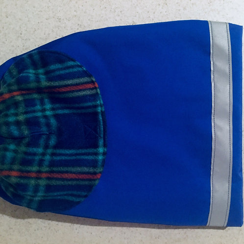 LG DOG BLUE PLAID WATERPROOF COAT