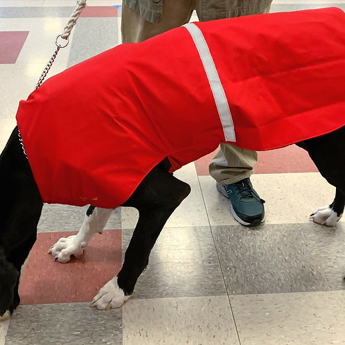 LG DOG  RED BUFFALO PLAID WATERPROOF COAT NO COLLAR