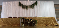 White Draped Backdrop with mini lights .