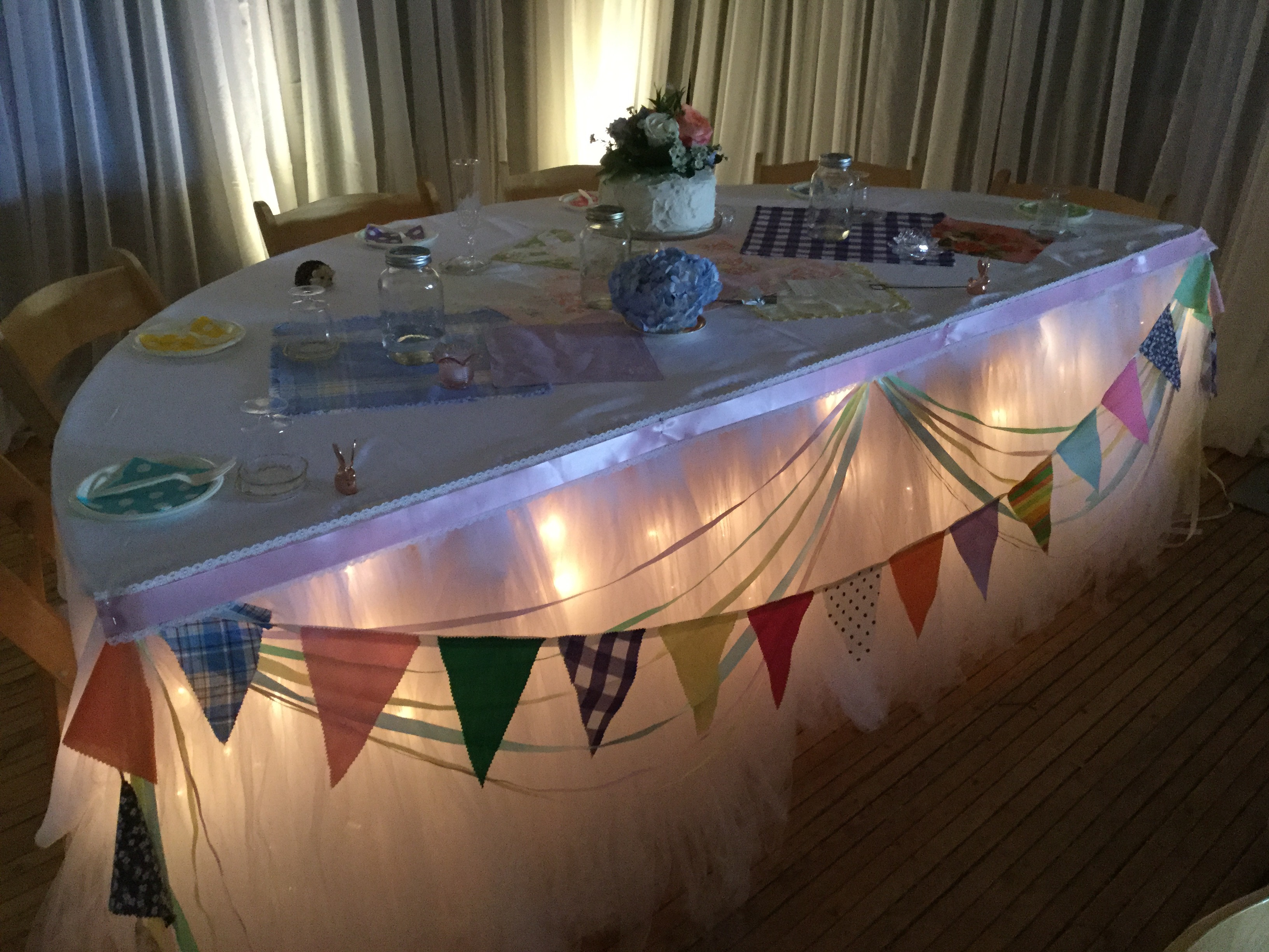 Tulle Skirting with Ribbons and Flags