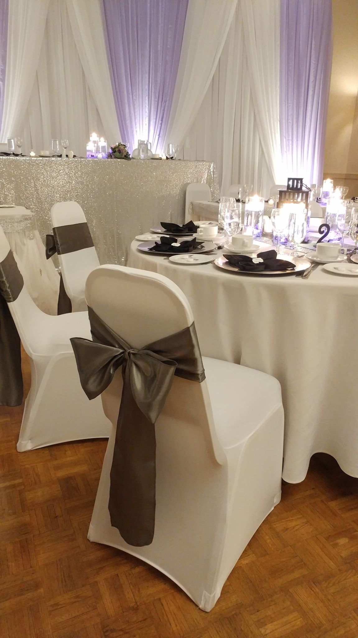 White Spandex Chair Cover & Sash
