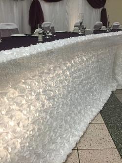 White Rosette Table Skirting