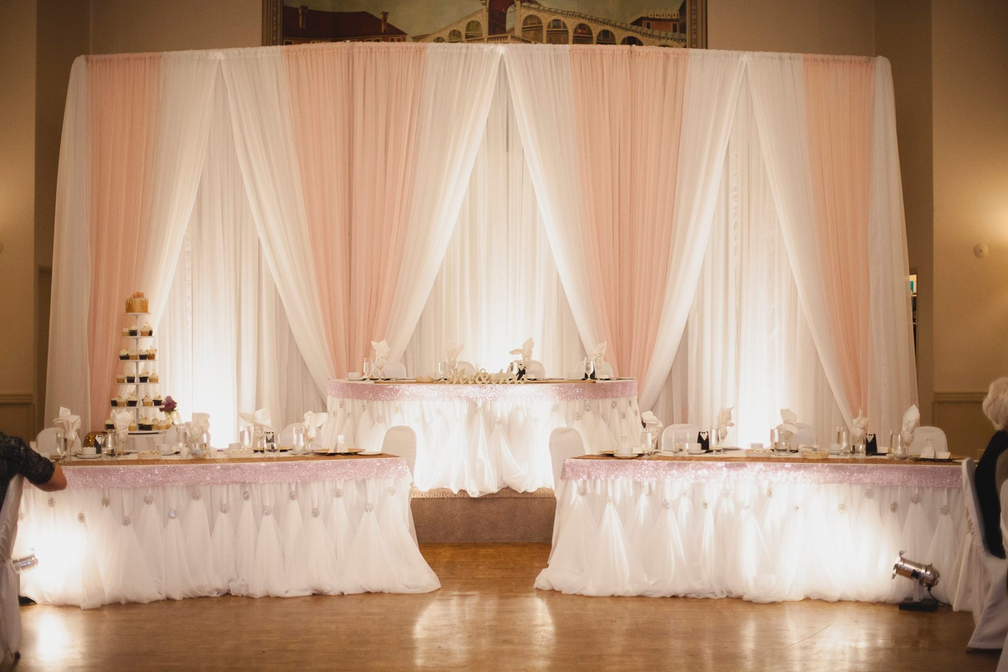 Soft Pink draped backdrop