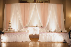 Soft Pink draped backdrop