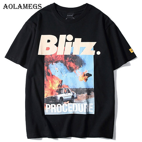 Aolamegs Men Accident Printed Men's T Shirt Fashion High Street Tees