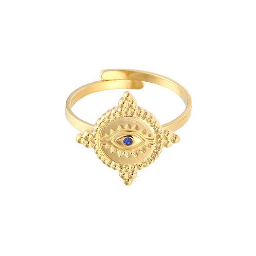 Goud Blauwe Ring