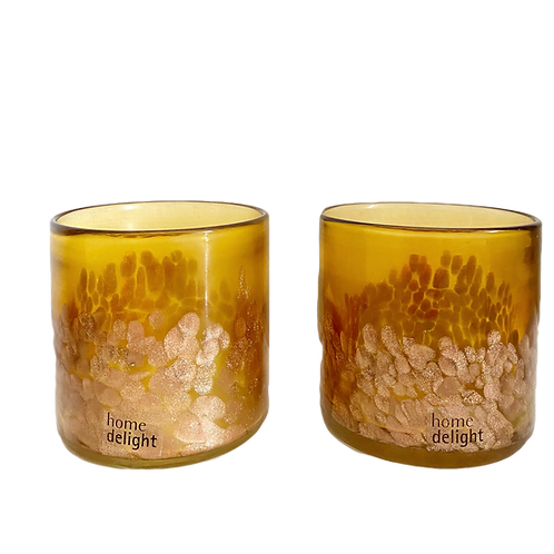 2 X Home Delight Waxinelichthouder Goldy amber 10cm