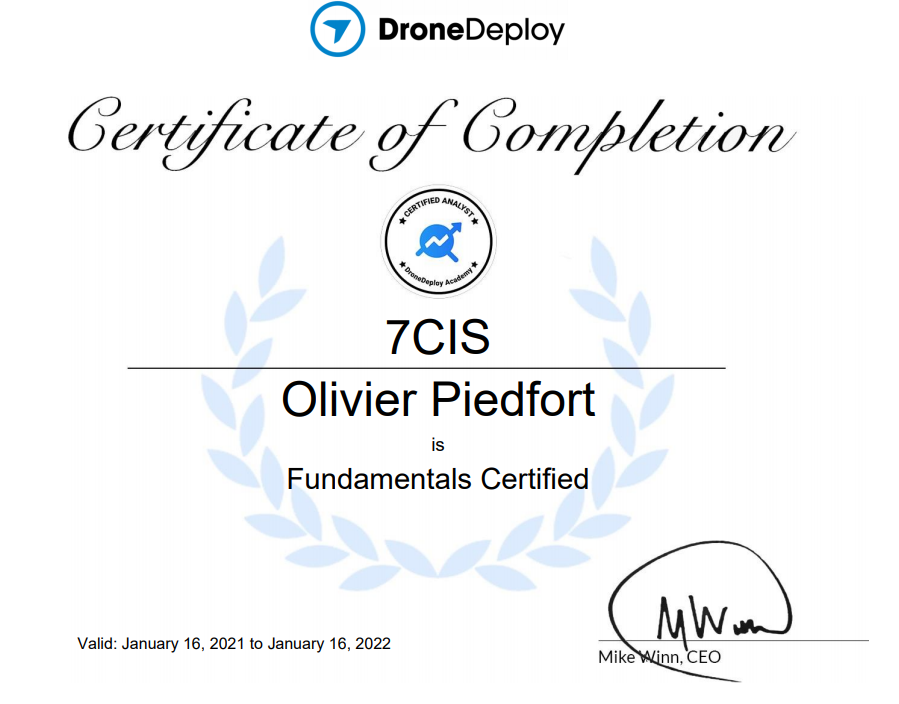DroneDeploy Certificate Analyst - 7CIS