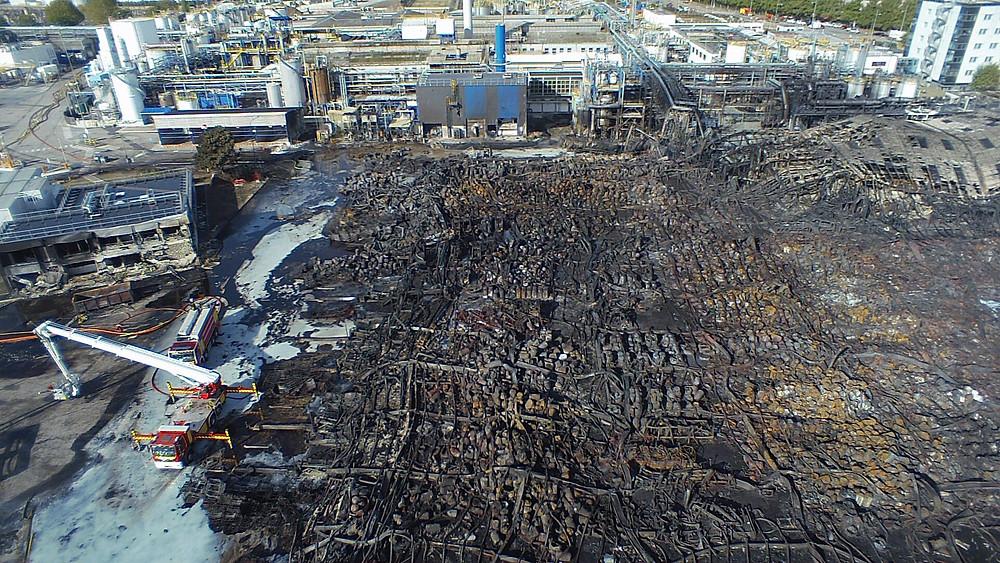 Incendie Lubrizol - Images aériennes : 7CIS
