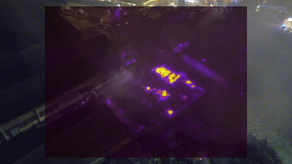 Image thermique / Infrarouge du Yuneec H480 + CGOET / incendie Lubrizol - 7CIS