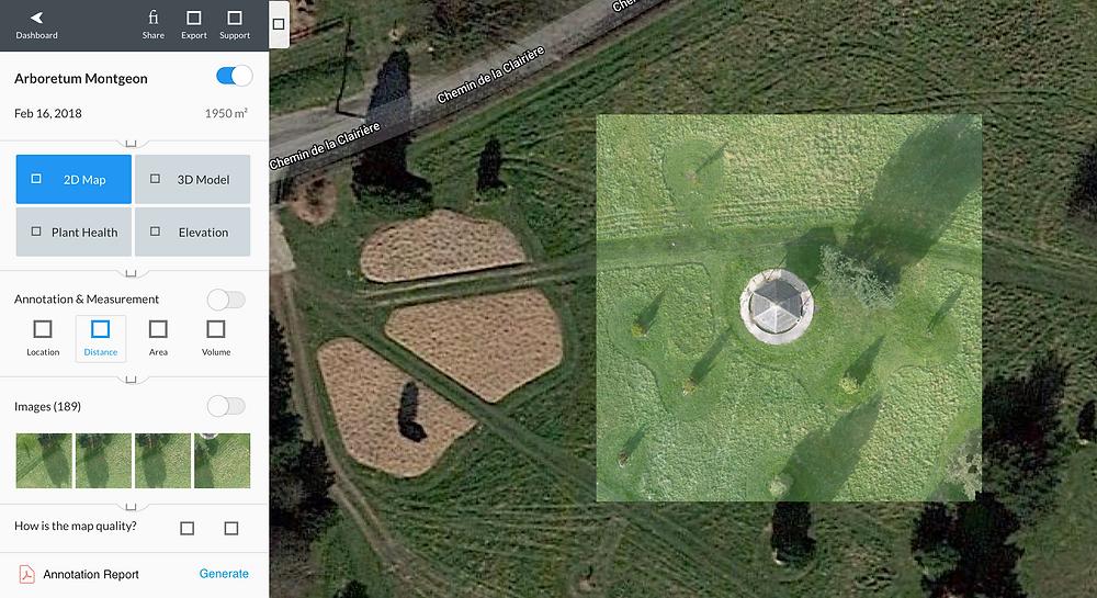 Orthophotographie 2D avec superposition sur les images satélites