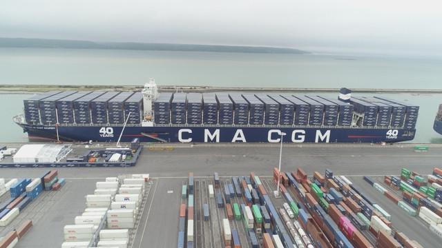 Navire CMA-CGM Antoine Saint Exupéry - images drone : 7CIS