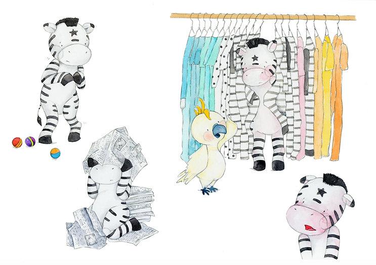 Shy Zebra concept illustration