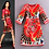 Thumbnail: 3/4 Sleeves Printed Elegant A Line Dress
