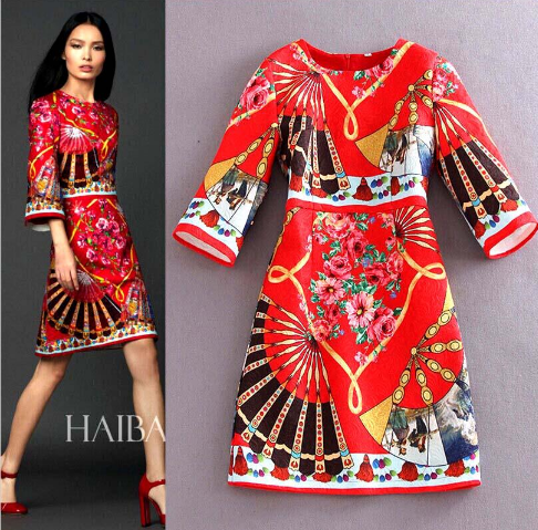 3/4 Sleeves Printed Elegant A Line Dress