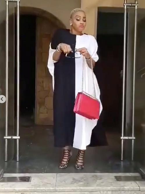 Black/White Color Block Midi Bubu/Caftan Dress