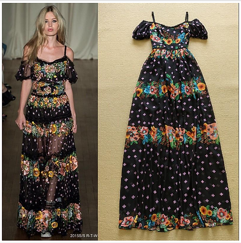 Spaghetti Straps Printed Floral Dress