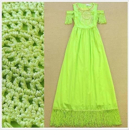 Off the Shoulder Embroidery Tassel Patchwork Dress