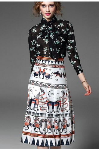 Printed Detachable Sash Bow Shirts w/skirt twinset