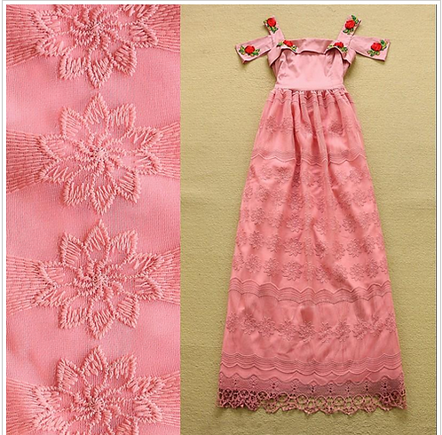 Off the Shoulder Embroidery Flowers Lace Dress