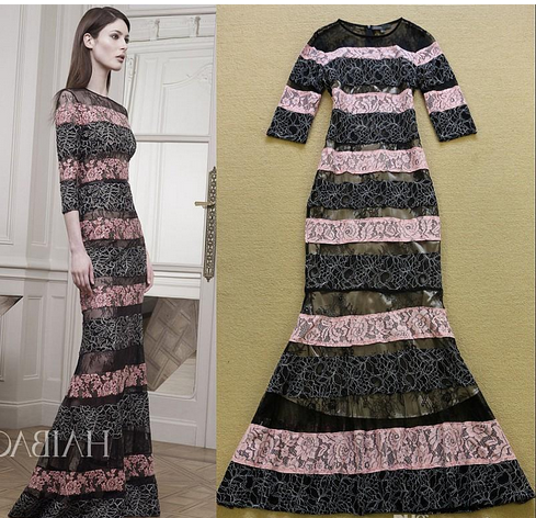 Color Block Striped Embroidery Lace Mermaid Dress