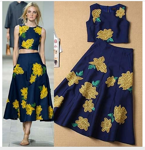 Embroidery Flowers T Shirts w Floral Skirt Twinset