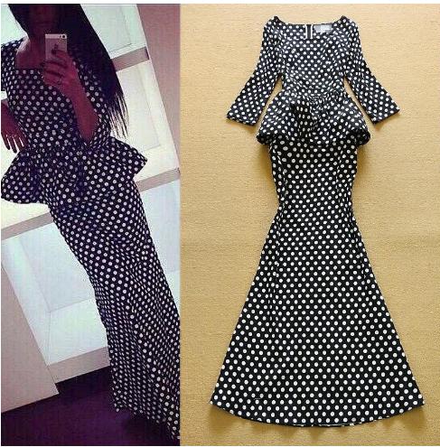 Dots Printed Ruffles Peplum Dress