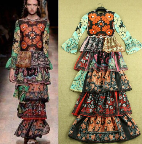 3/4 Sleeves Printed Floral Tiered Layered Ruffles