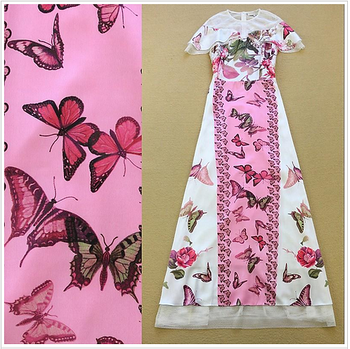 Butterflies Printed Tulle Patchwork Layered Dress