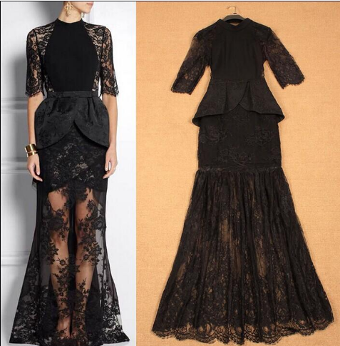 Half Sleeves Ruffles Lace Patchwork Dress