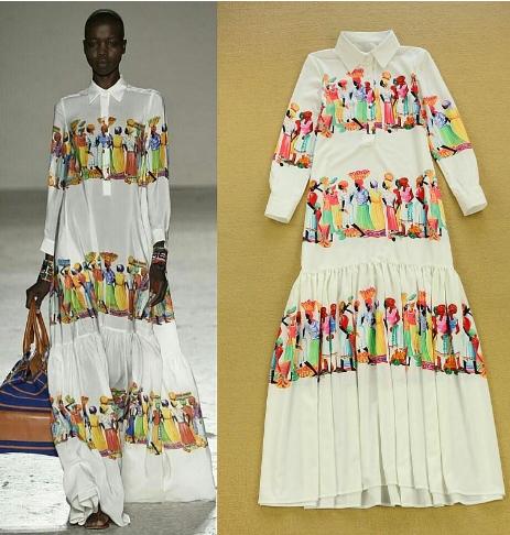 Long Sleeves Ruffles Characters Print Dress