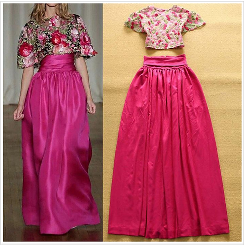 Embroidery Blouse w Long Skirts Elegant Twinset