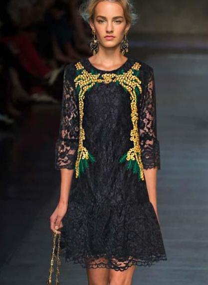 Embroidery Flowers  A Line Dress