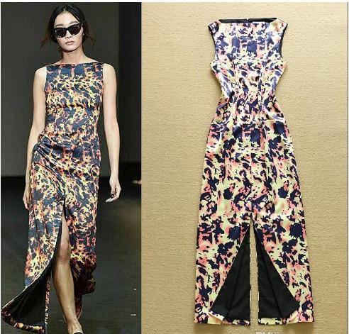 Leopard Printed double Split Front/Back dress