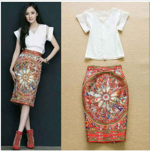Runway Sleeves Blouse with Printed Pencil Skirt