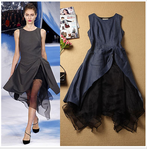 Patchwork Asymmetrical Ruffles Fashion Runway Dres