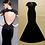 Thumbnail: Open Back Lace Detailing Black Dress
