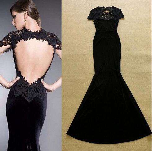 Open Back Lace Detailing Black Dress