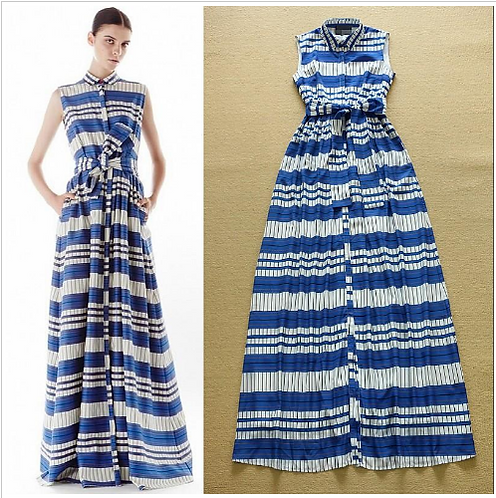Sleeveless Striped Color Block Elegant Runway Maxi