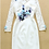 Thumbnail: Lace Sleeves Handmade Flowers Ruched dress