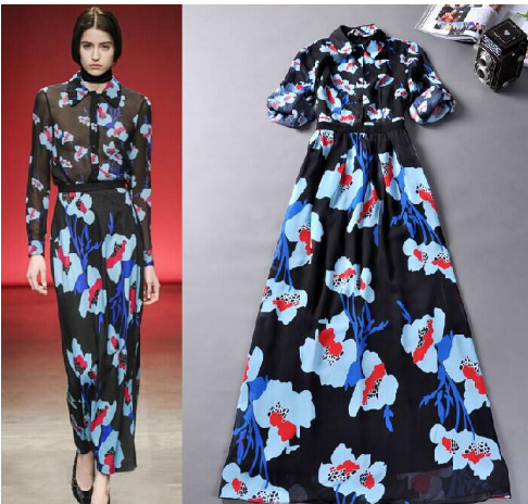 Printed Floral A Line Long Maxi