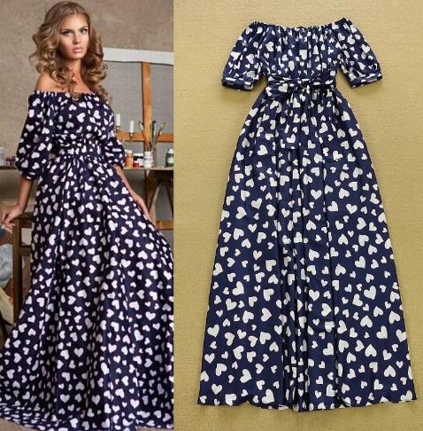 Slash Neckline Hearts Short Sleeves Printed Dress