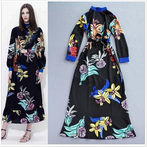Printed Sashes Belt Floral Vintage Maxi Dress