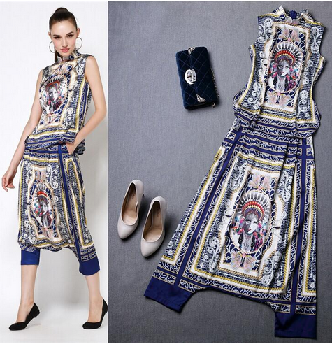 Pattern Printed Blouse with Harem Pants Twinset