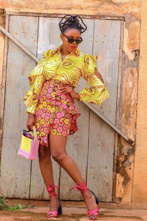 Mixed Prints Shirt & Skirt w/ Frills