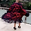 Thumbnail: Red/Black Chiffon Midi Bubu/Caftan Dress