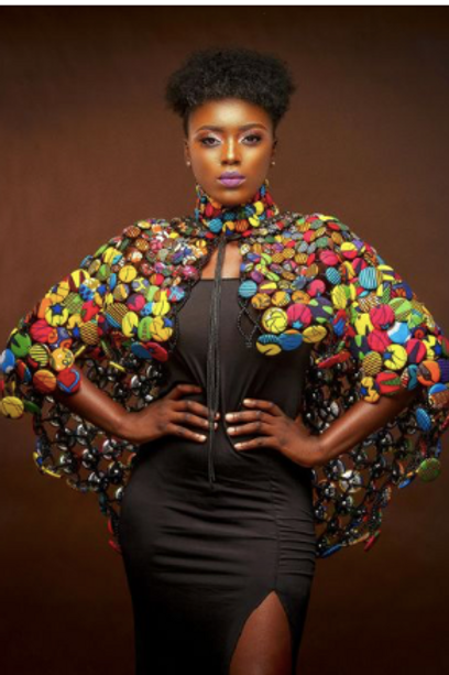 Diva Karen Afro-Print Buttoned Shawl Necklace
