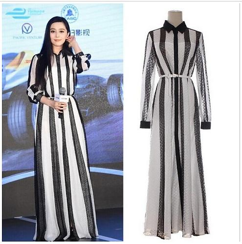 Striped Color Block Long Elegant Dress