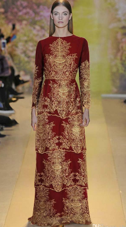 Golden Embroidery Flowers Elegant Dress